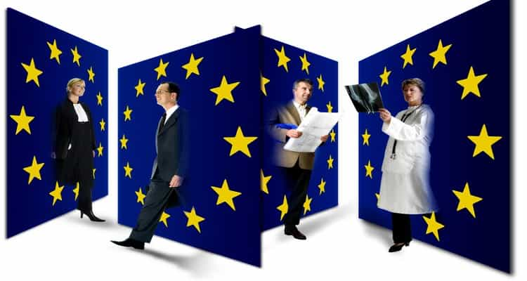 bandera unión europea trabajadores