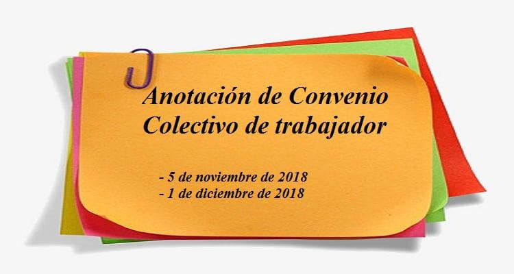 Anotación de Convenio Colectivo de trabajador