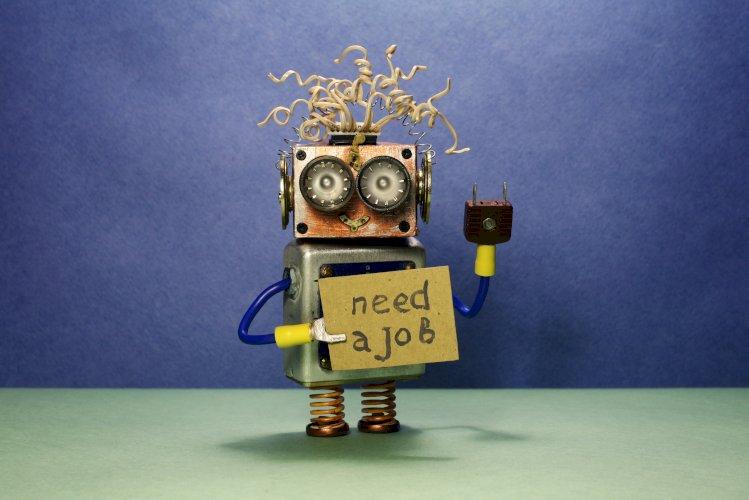 robot cartel solicitando trabajo