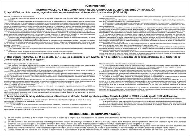 ANEXO III. Modelo del Libro de Subcontratación