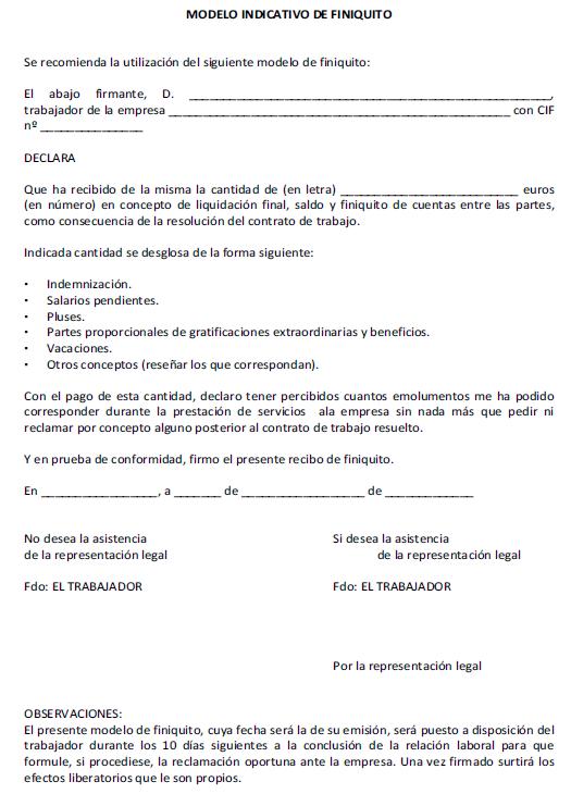 ANEXO IV. MODELO INDICATIVO DE FINIQUITO