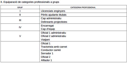 II. EQUIPARACIÓ DE CATEGORIES PROFESSIONALS A GRUPS