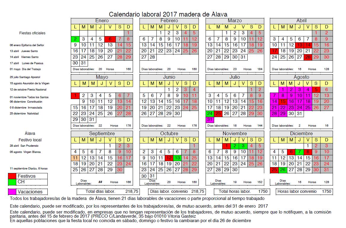 Calendario Laboral Alava 2020.Convenio Colectivo De La Madera Alava