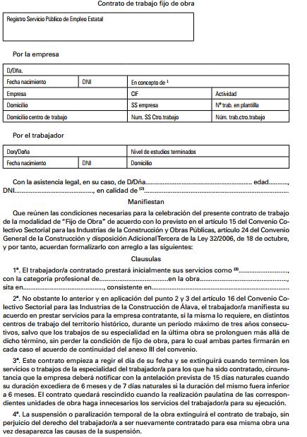 ANEXO II. Contrato de trabajo fijo de obra