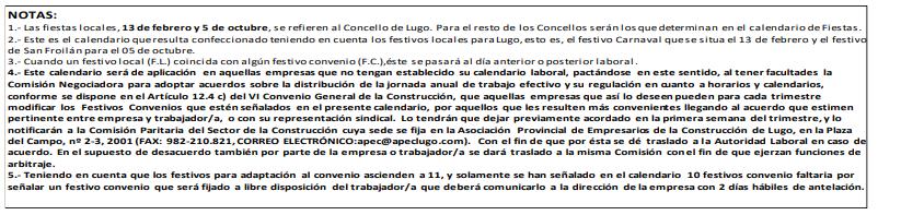 ANEXO II. CALENDARIO LABORAL SECTOR EDIFICACIÓN Y OBRAS PÚBLICAS DE LA PROVINCIA DE LUGO