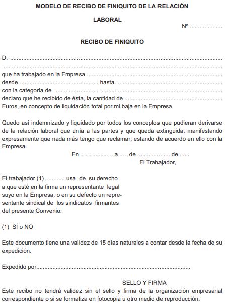 ANEXO XI. MODELO DE RECIBO DE FINIQUITO DE LA RELACION LABORAL
