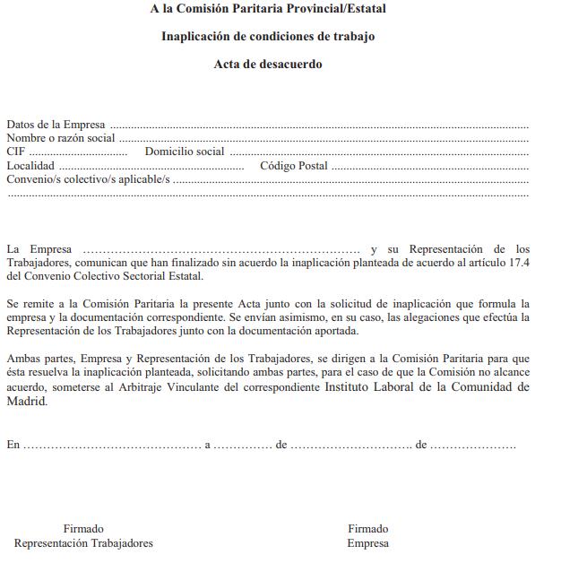 ANEXO XII. INAPLICACIÓN DE CONDICIONES DE TRABAJO. ACTA DE DESACUERDO