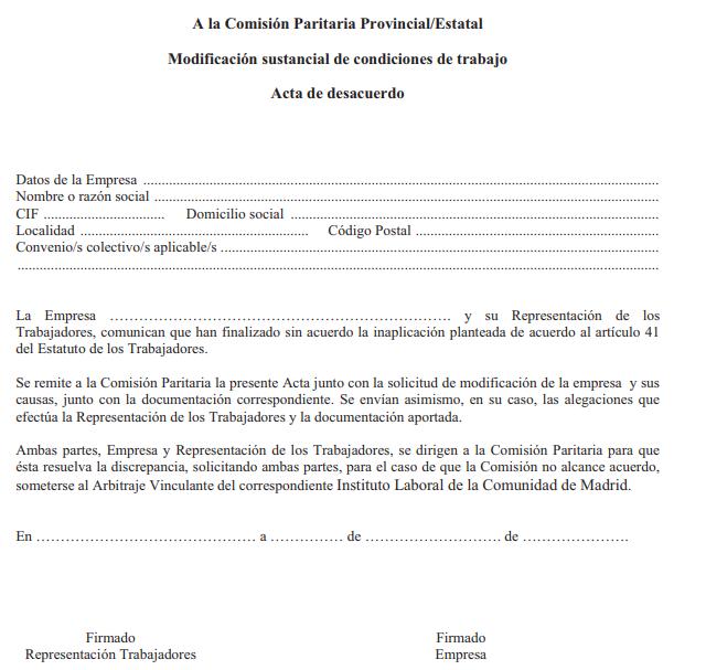 ANEXO XIII. MODIFICACIÓN SUSTANCIAL DE CONDICIONES DE TRABAJO. ACTA DE DESACUERDO