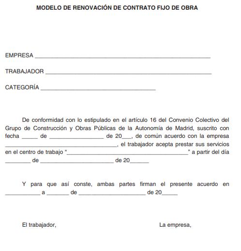ANEXO II. MODELO DE RENOVACIÓN DE CONTRATO FIJO DE OBRA